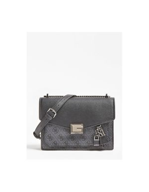 Guess Valy Flap Cross Body Bag Colour: Coal
