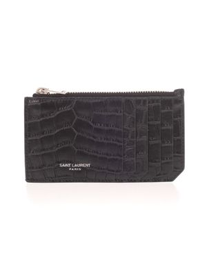 SAINT LAURENT MEN'S 609362DZE0E1000 BLACK LEATHER CARD HOLDER