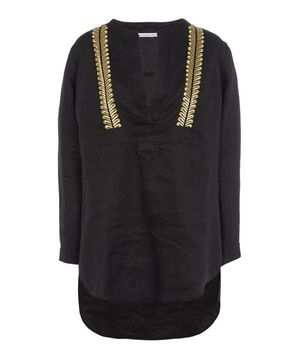 Kori Embroidered V-neck Linen Tunic