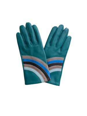 Mabel Sheppard Green Metallic Rainbow Gloves