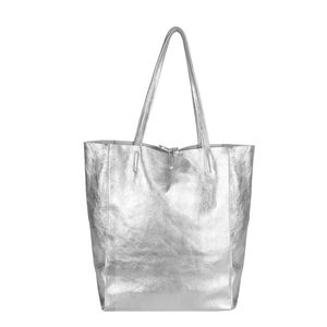 Brix + Bailey Soft Metallic Leather Tote Bag Silver
