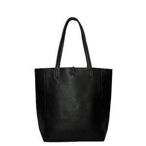 Brix + Bailey Soft Pebbled Leather Tote Bag Black