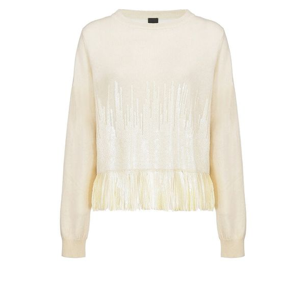 Pinko Trial Cream Sequins Sweater In Beige