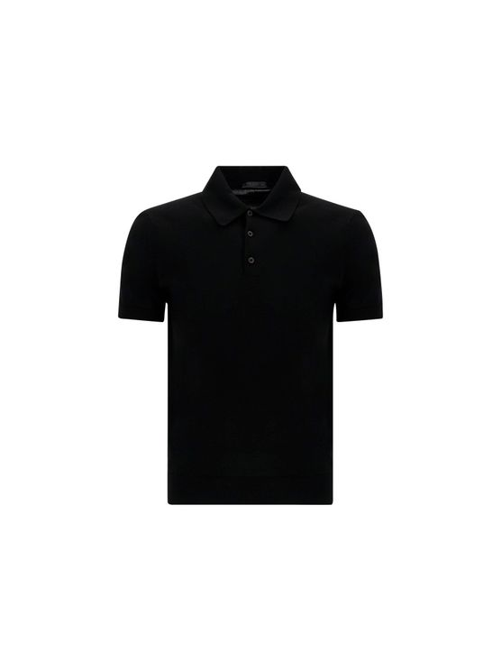 Prada PRADA MEN'S UMA625S17176VF0002 BLACK OTHER MATERIALS POLO SHIRT
