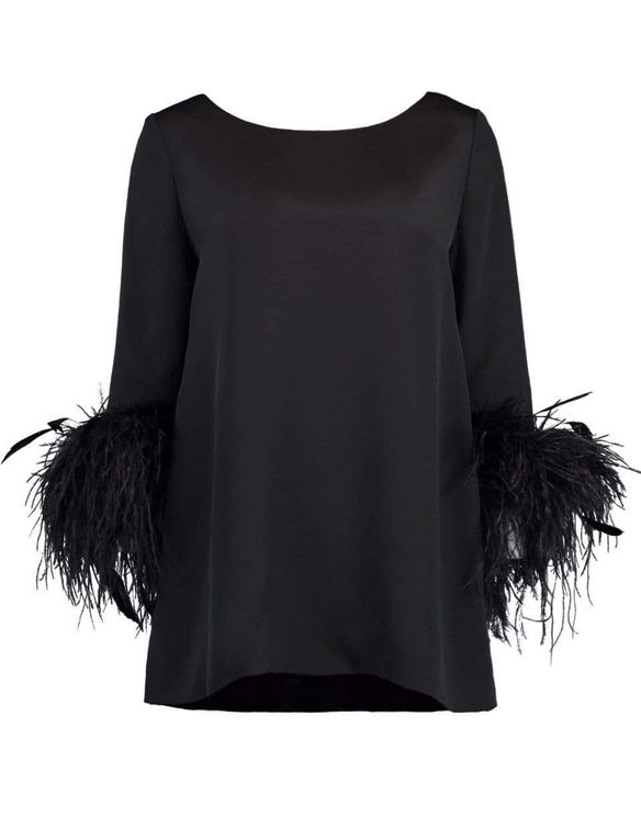 Catherine Regehr Black Feather Cuff Boat Neck Top