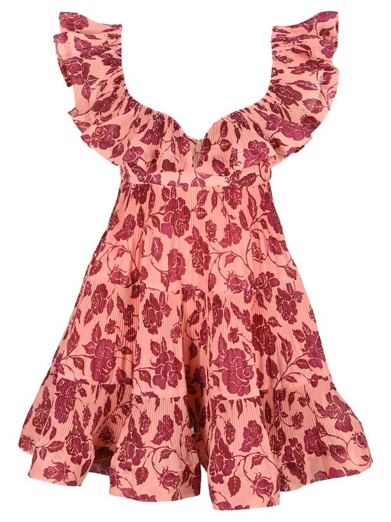 Zimmermann THE LOVESTRUCK PLEATED MINI IN GUAVA/BURGUNDY ROSE