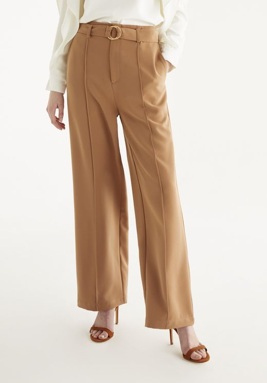 Paisie Ivy Wide Leg Trousers In Camel In White