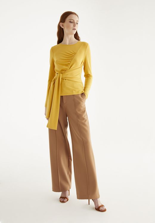 Paisie Ridley Tie Waist Top In Yellow In White