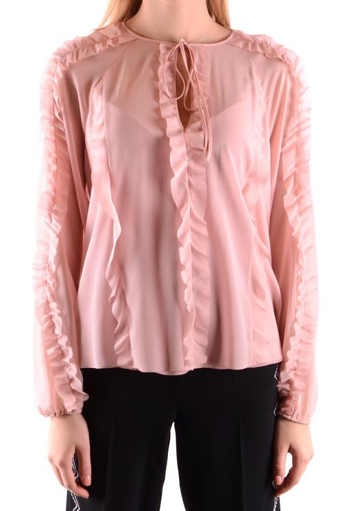 Red Valentino Ruched Stretch Silk Blouse In Pink
