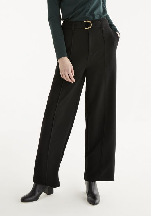 Paisie Ivy Wide Leg Trousers In Black In White