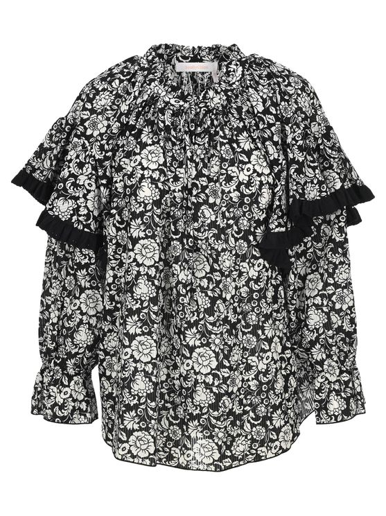 See By Chloé See By Chloe Graphic Peonies Printed Blouse In Black - White