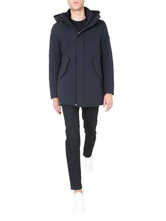 Woolrich Stretch Mountain Parka Coat In Black
