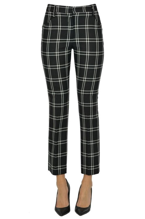 True Royal Checked Print Trousers In Black