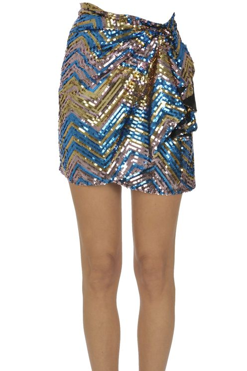 Ava Adore Sequined Mini Skirt In Multi