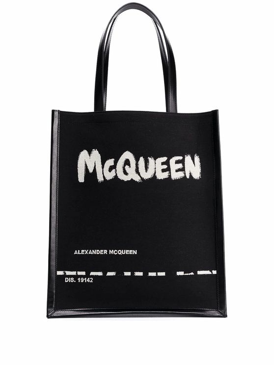 Alexander Mcqueen Tote Bag With Mcqueen Graffiti Print In Black