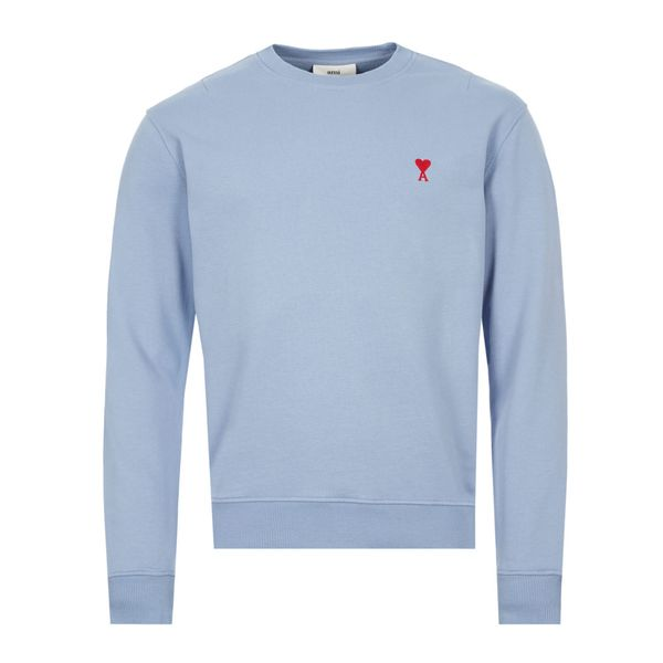 Ami Alexandre Mattiussi Ami Paris Light Blue Round Neck Sweatshirt With Logo In Azzurro