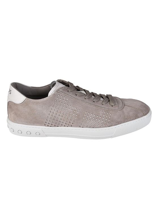 Tod's Low-top Sneakers Y0x990  Calfskin Suede Hole Pattern Logo Taupe White In Grey